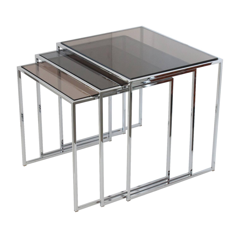 set of milo baughman chrome and smoked glass nesting tables at 1stdibs