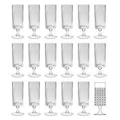 Set of 17 Bjorn Wiinblad Rosenthal Romance Water Glasses