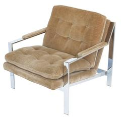 Cy Mann Chrome Lounge Chair in the Style of Milo Baughman