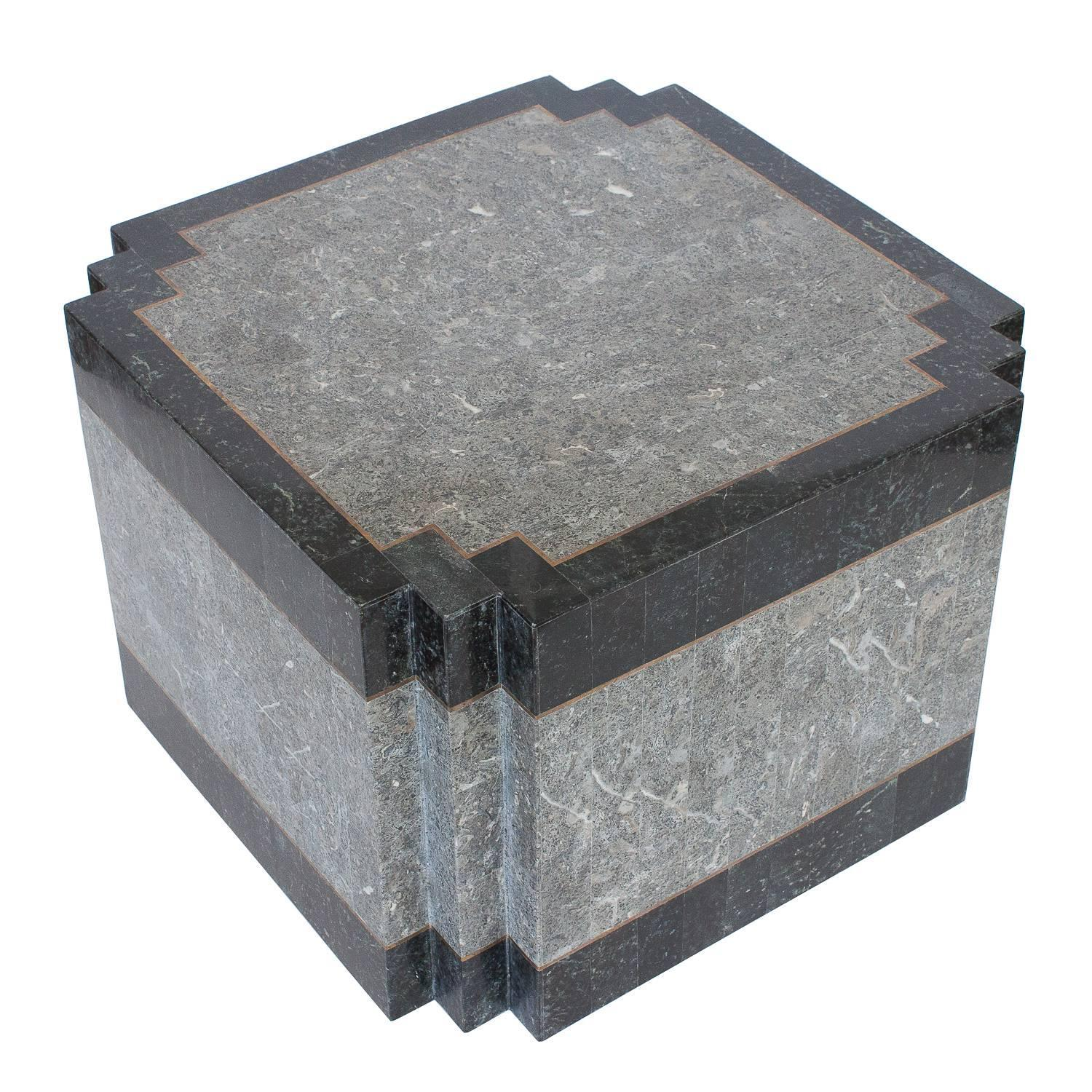 Maitland Smith Tessellated Stone and Brass Side or End Table at