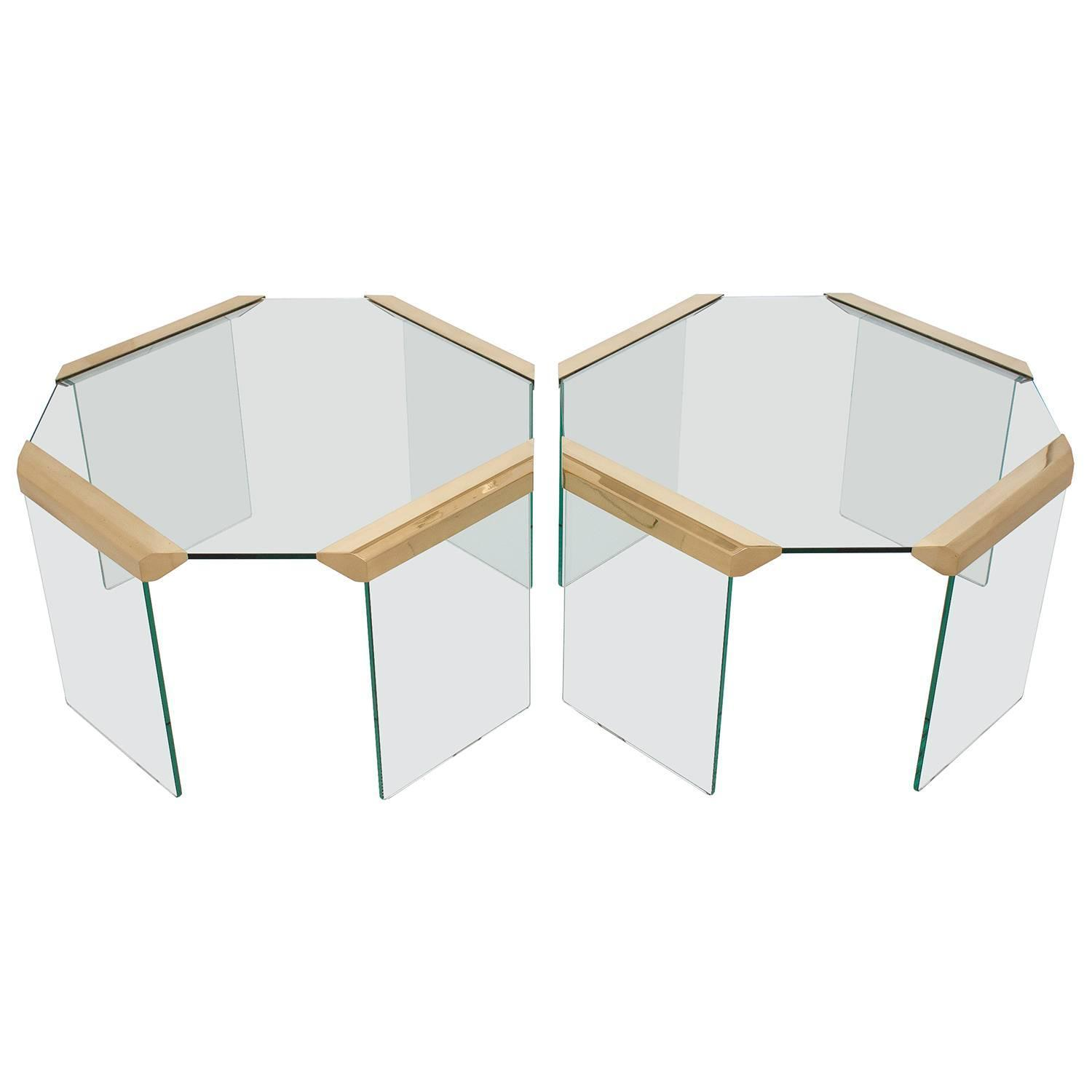 Pair of Brass Glass Waterfall Octagon Side End Tables at 1stdibs