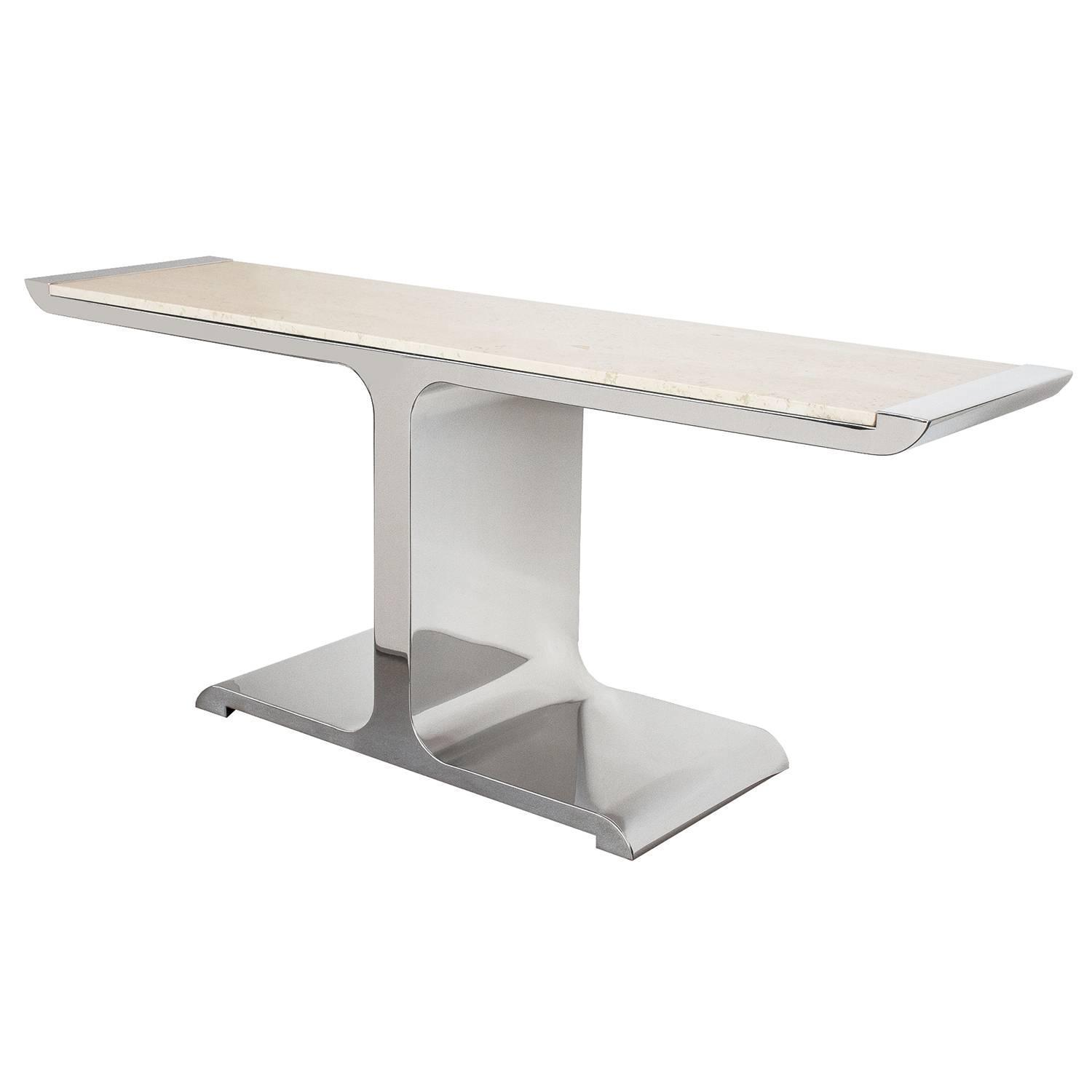 brueton polished steel and travertine eagle console table at stdibs -