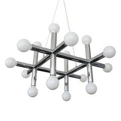 Chrome Sixteen-Light Molecule Chandelier by Lightolier