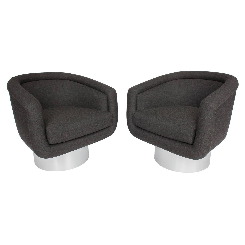 Pair of Leon Rosen Pedestal Swivel Lounge Chairs at 1stdibs