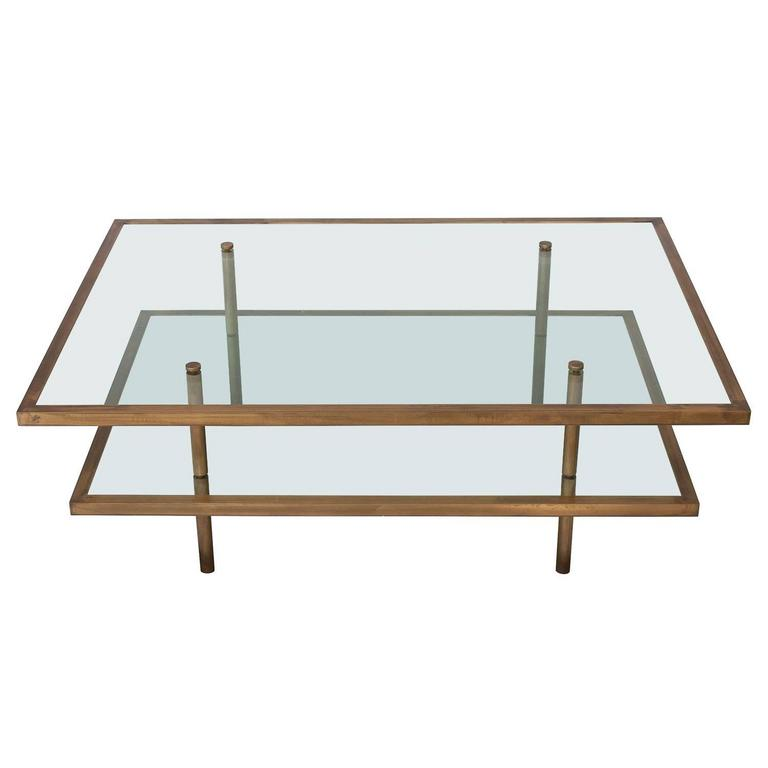 French Bronze And Glass Two Tier Coffee Table 1