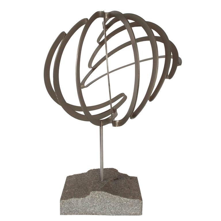 Abstract Steel Ribbon Sphere Sculpture with Granite Base