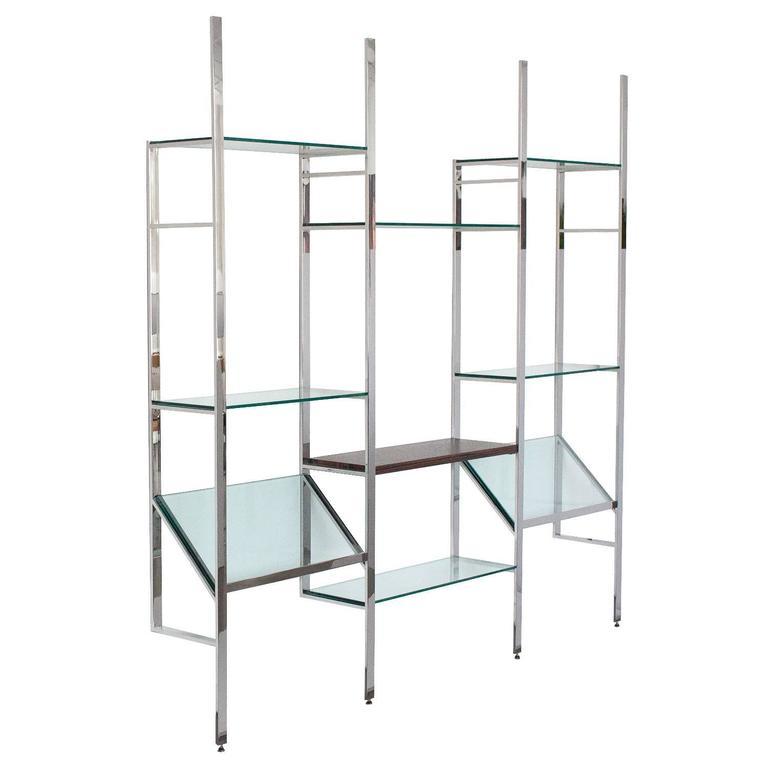 milo baughman chrome and glass wallmounted shelving system 1