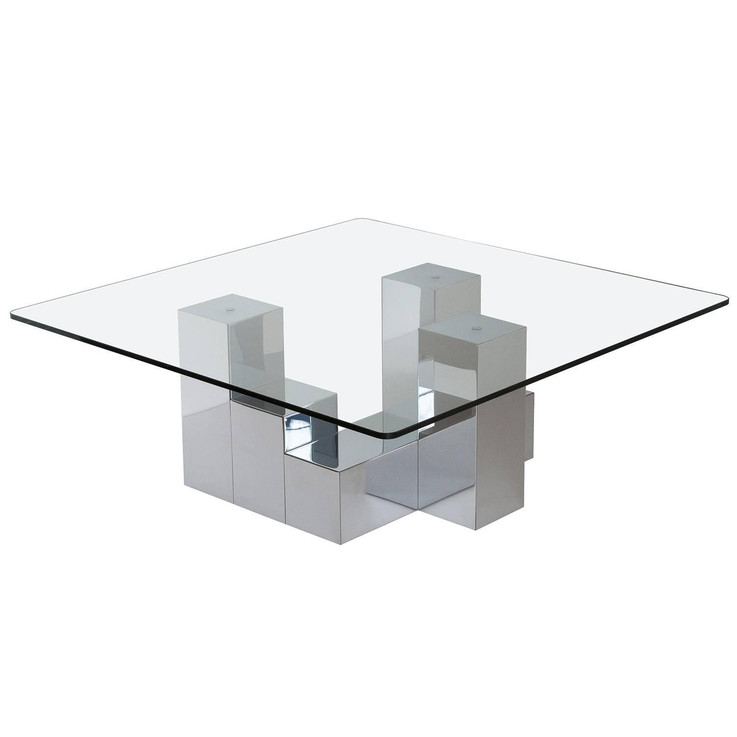 Paul Evans Style Chrome Cityscape Coffee Table at 1stdibs