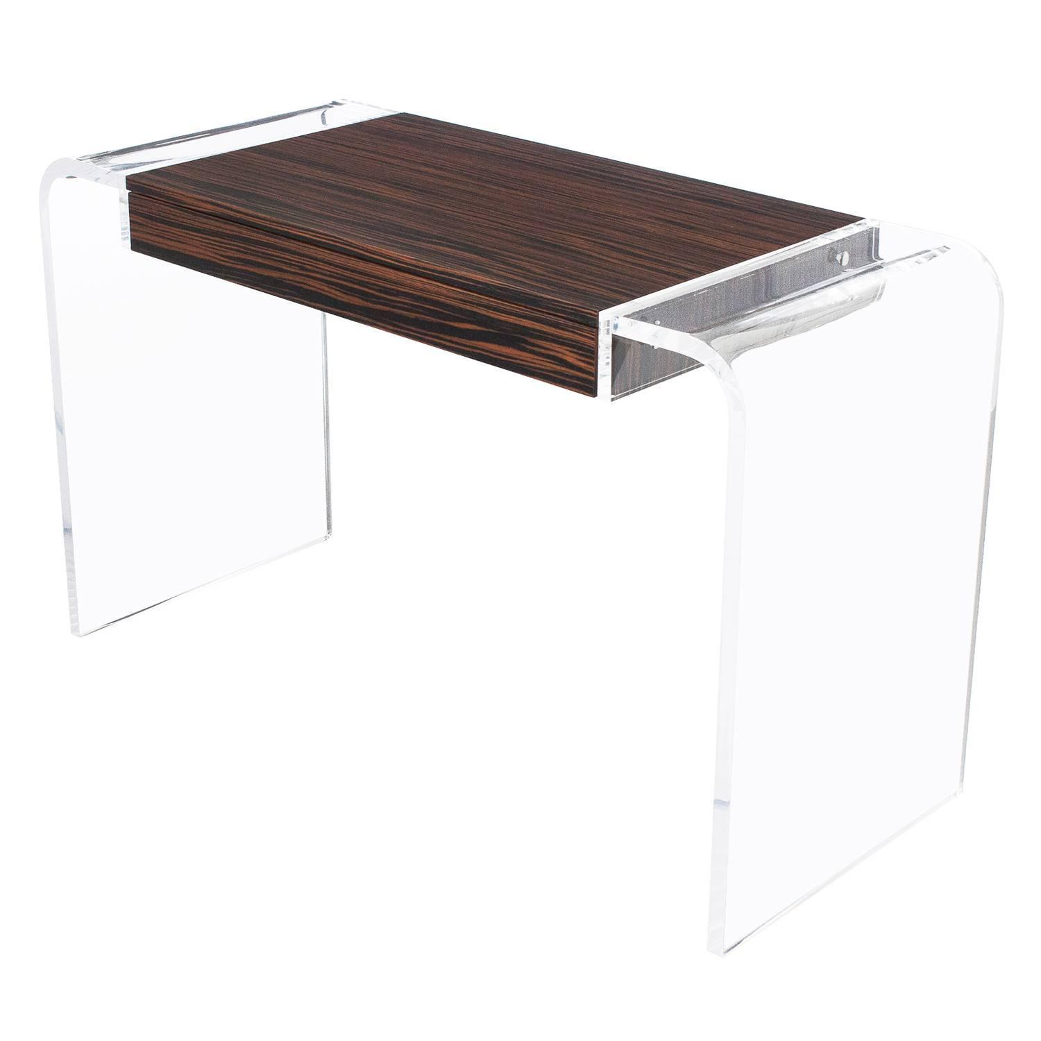 Macassar Ebony Lucite Waterfall Writing Desk, Console Table For Sale At  1stdibs