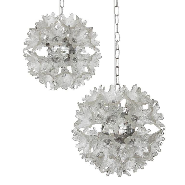 Italian Sputnik Chandelier With Murano Glass Flowers For