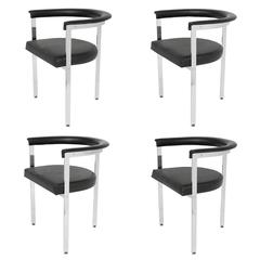 Set Four Modernist Chrome Three-Legged Dining Chairs