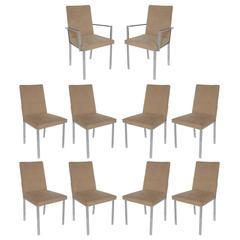 Set of Ten Chrome Milo Baughman Style Dining Chairs