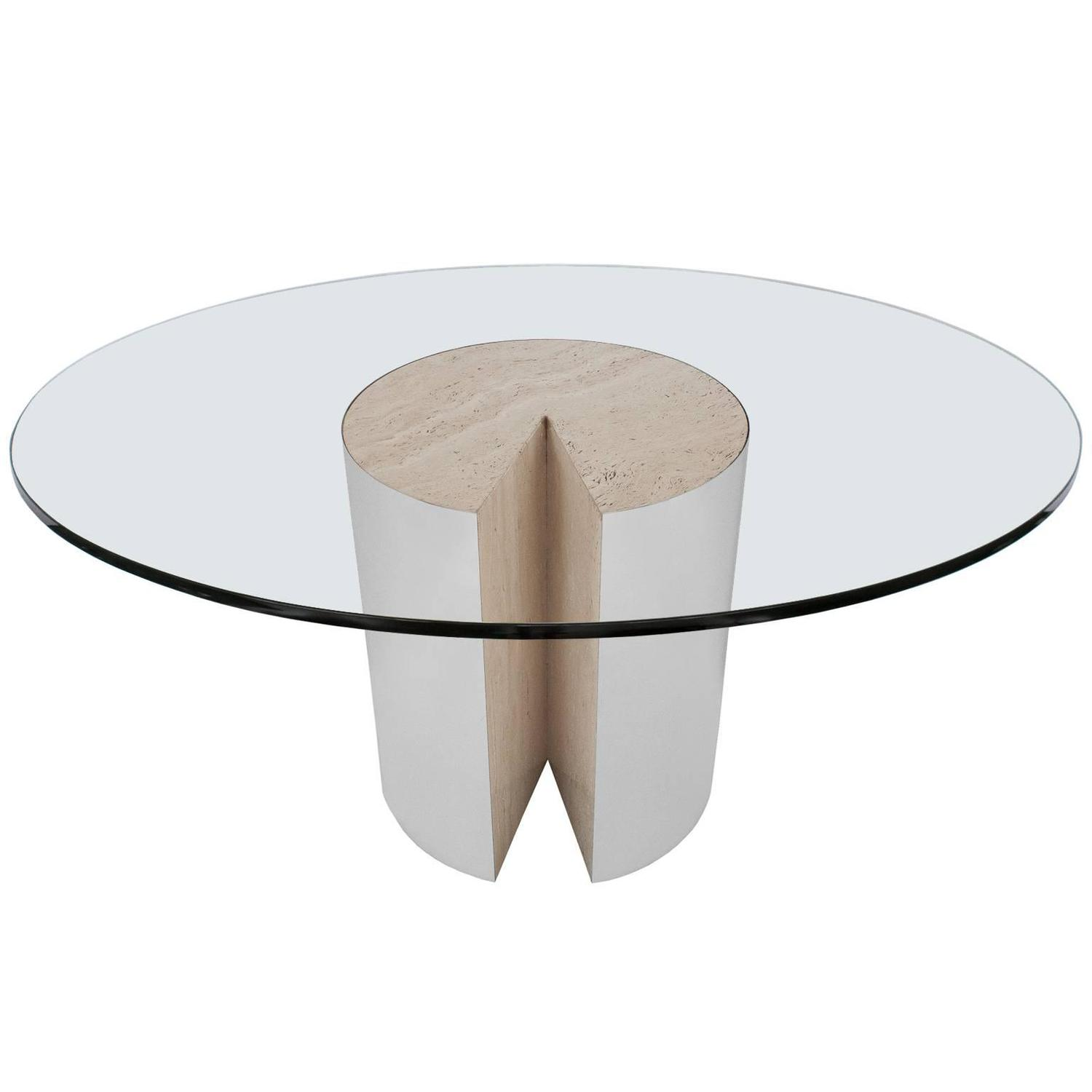 "Rare Leon Rosen Travertine and Chrome ""Pie"" Dining Table for Pace"