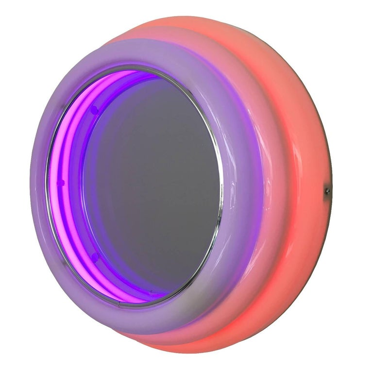 Pink Wall Mirror sottsass style round neon wall mirror / light sculpture for sale