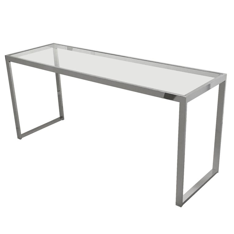 Milo Baughman Style Chrome And Gl Console Table For