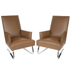 Pair of Donghia Leather Odeon Lounge Chairs