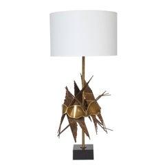 Brutalist Metal Table Lamp by Tom Greene