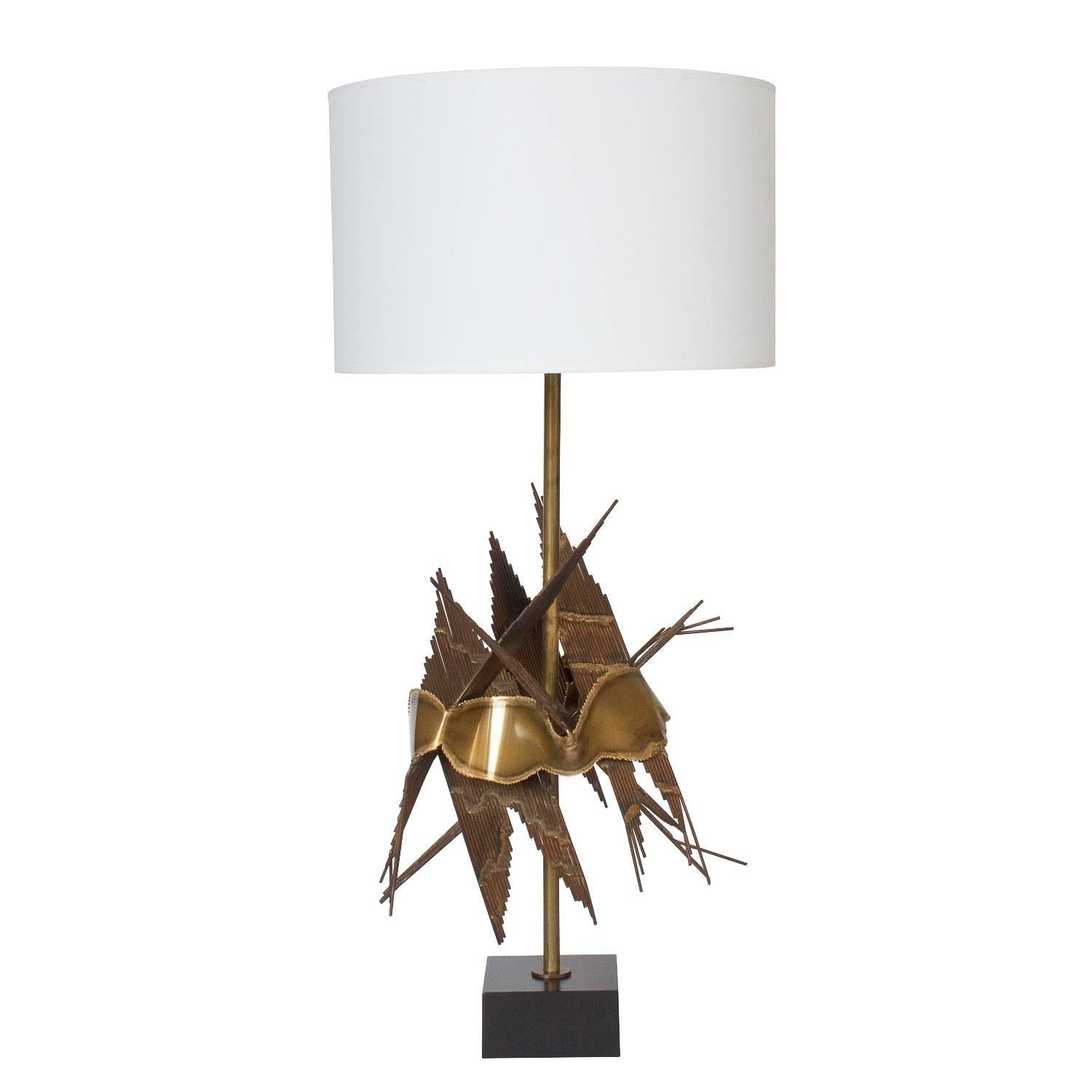 Paul Hanson Etched Glass Cylinder Brass Table Lamp At 1stdibs
