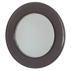 1970s, Round Smoked Lucite Framed Wall Mirror