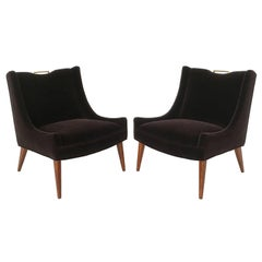 Pair of Harvey Probber Mohair Slipper Lounge Chairs