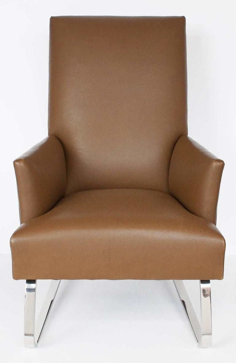 Donghia Leather Odeon Lounge Chair For Sale at 1stdibs