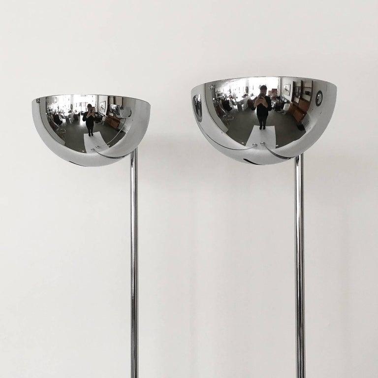 Mid-Century Modern Pair of Robert Sonneman Chrome Floor Lamps For Sale