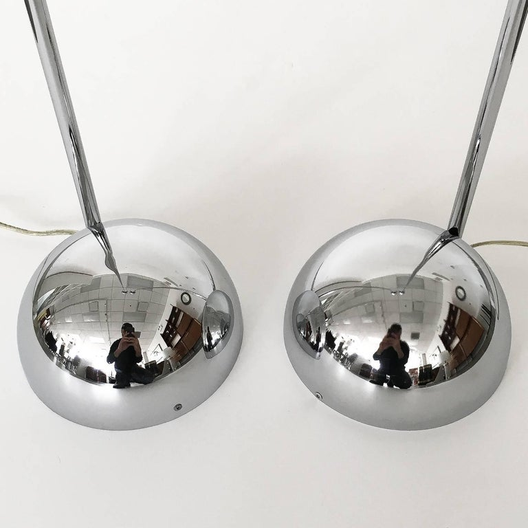 Plated Pair of Robert Sonneman Chrome Floor Lamps For Sale