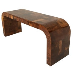 Paul Evans Burl Patchwork Cityscape Console Table or Writing Desk