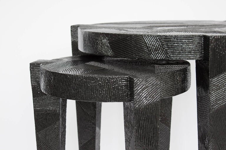 Set Black Lacquered Textured Nesting Side Tables At 1stdibs