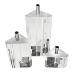 Set of Three Faceted Lucite and Chrome Candleholders