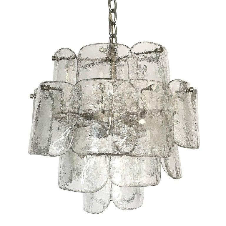 Mazzega Four-Tier Clear Murano Glass Chandelier