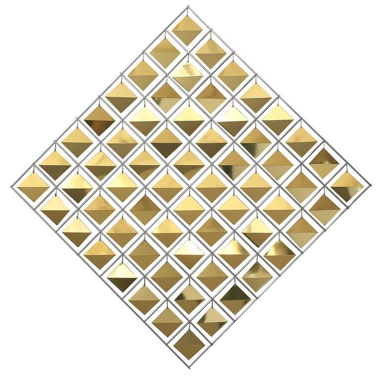 Curtis Jere Brass Diamond Kinetic Wall Sculpture