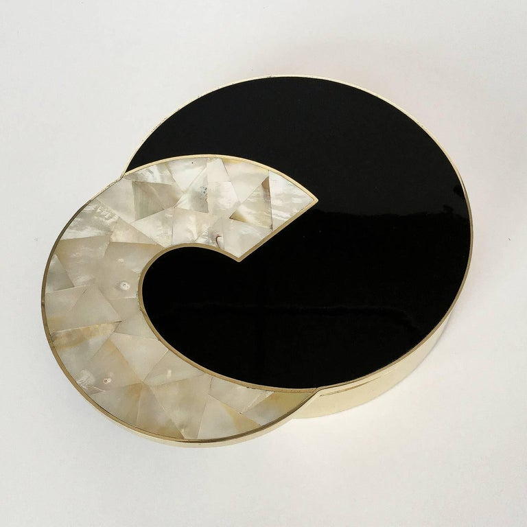 Gabriella Crespi Style Brass And Mother Of Pearl Box At