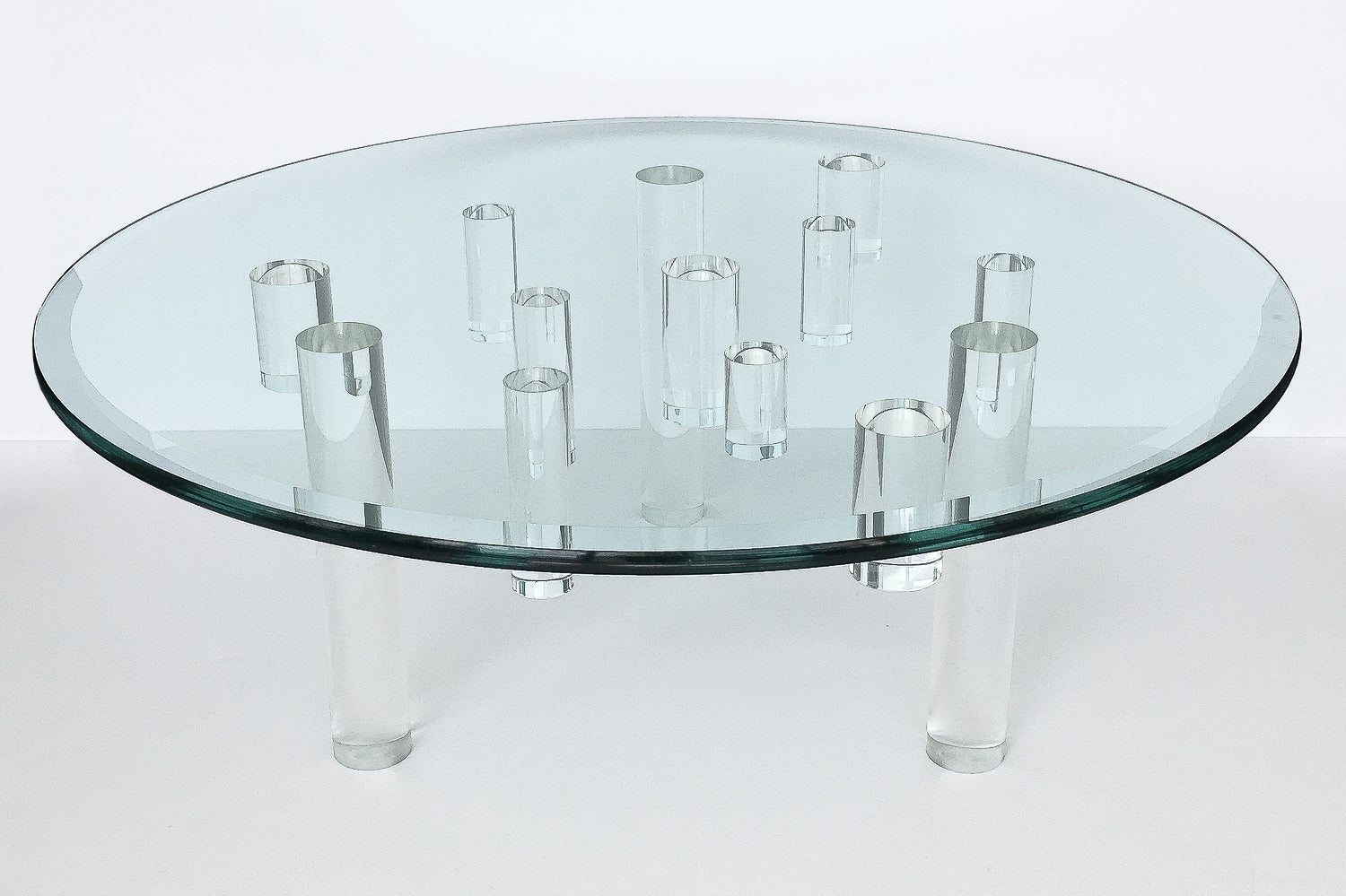 Sculptural Round Lucite Coffee Table at 1stdibs