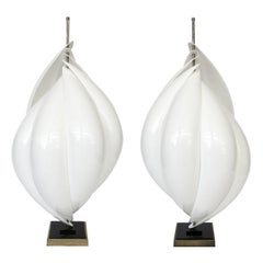 Pair of Roger Rougier Acrylic Twist Spiral Table Lamps