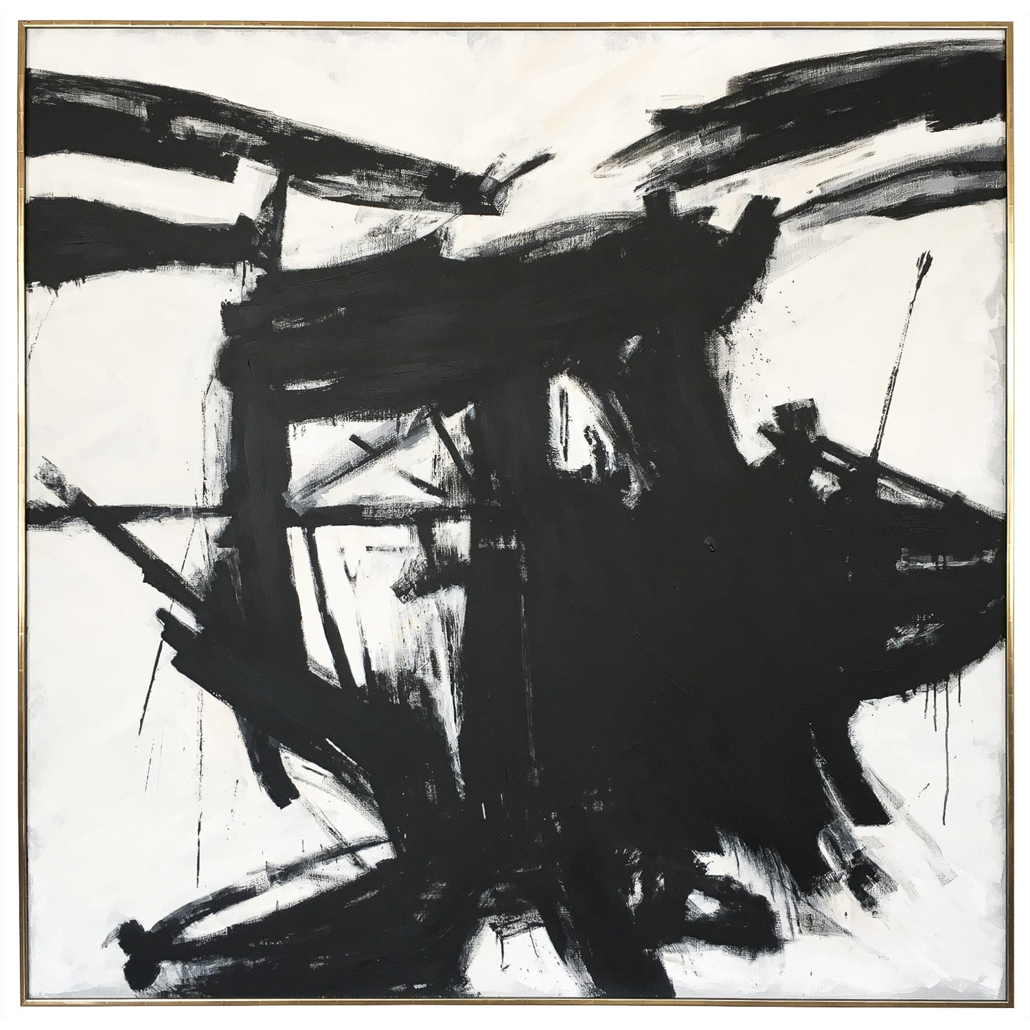 Franz kline style abstract black and white painting at 1stdibs