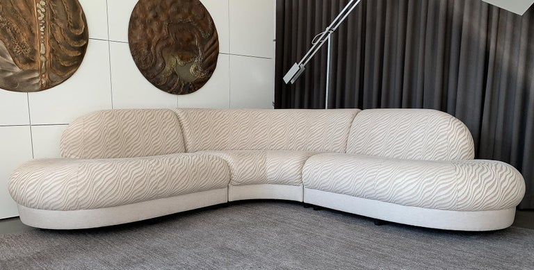 Curvaceous Armless Three Piece Sectional Sofa In The Style Of Milo Baughman Symmetrical L