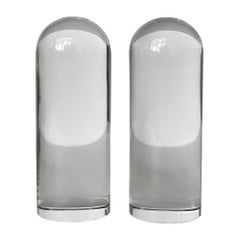 Pair of Solid Glass Bullet Shaped Bookends or Sculptures