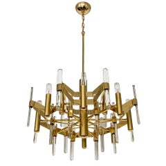 Gold-Plated Brass and Crystal Chandelier by Gaetano Sciolari