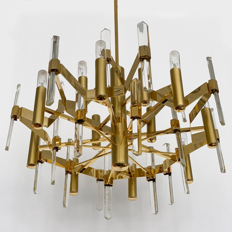 Gold-Plated Brass and Crystal Chandelier by Gaetano Sciolari For Sale 2