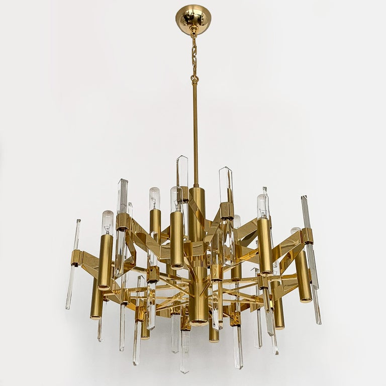 Gold Plate Gold-Plated Brass and Crystal Chandelier by Gaetano Sciolari For Sale