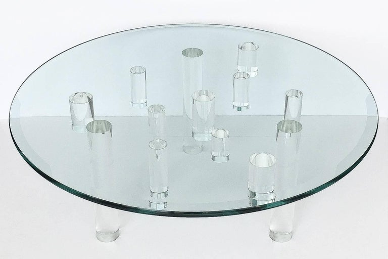 American Sculptural Round Lucite Coffee Table For