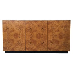 Milo Baughman Three-Door Olive Burl Wood Cabinet Sideboard