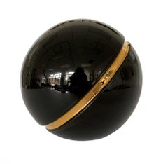 Jaru Ceramic Black and Gold Sphere Sculpture