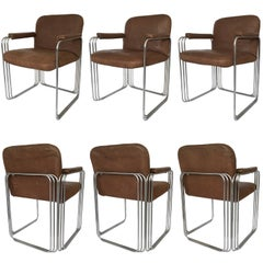 Set of Six Chrome and Leather Dining Chairs Attributed to Pace Collection
