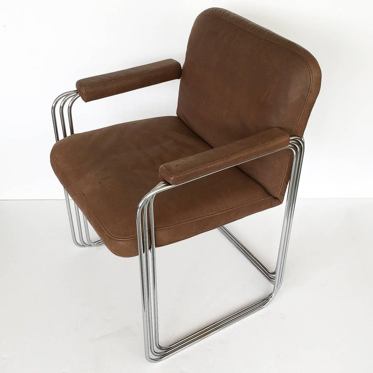 American Set of Six Chrome and Leather Dining Chairs Attributed to Pace Collection For Sale