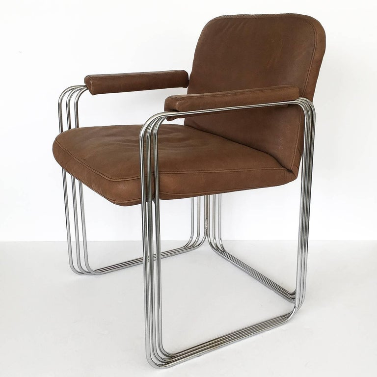 Plated Set of Six Chrome and Leather Dining Chairs Attributed to Pace Collection For Sale