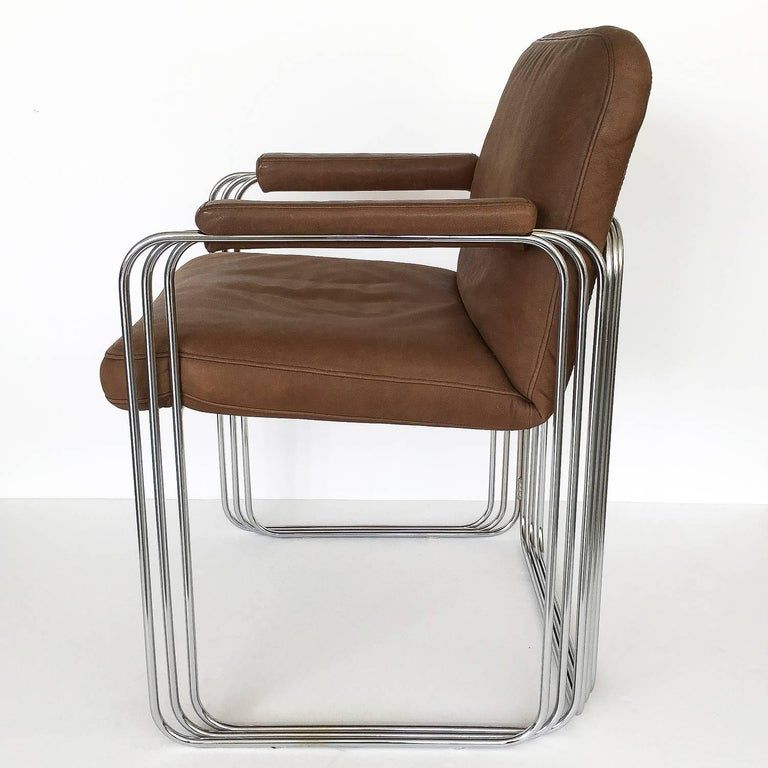 Set of Six Chrome and Leather Dining Chairs Attributed to Pace Collection In Good Condition For Sale In Chicago, IL