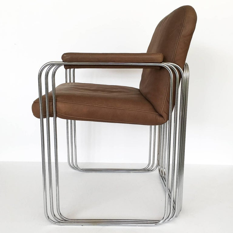 Late 20th Century Set of Six Chrome and Leather Dining Chairs Attributed to Pace Collection For Sale