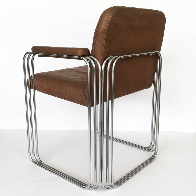 Set of Six Chrome and Leather Dining Chairs Attributed to Pace Collection For Sale 1